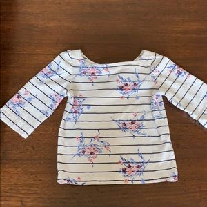 Janie and Jack floral striped top size 2t